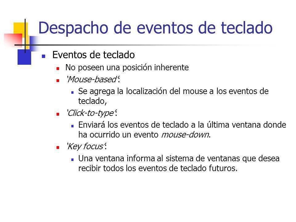 Despacho de eventos de teclado Eventos de teclado No poseen una posición inherente Mouse-based: Se agrega la localización del mouse a los eventos de t