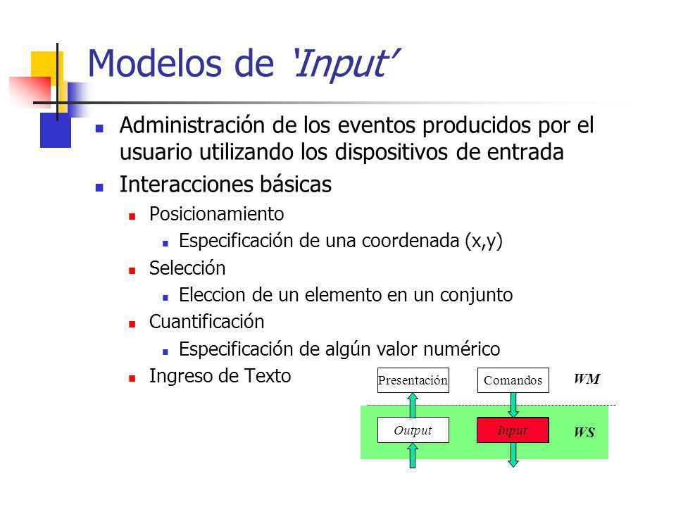 Interactors Objetivo: proveer mayor soporte para la programación del manejo de eventos Foco: interfaces de manipulación directa Identifica 6 tipos de interacciones básicas move grow rotate text edit gesture select (pick) Garnet, Amulet, UGA