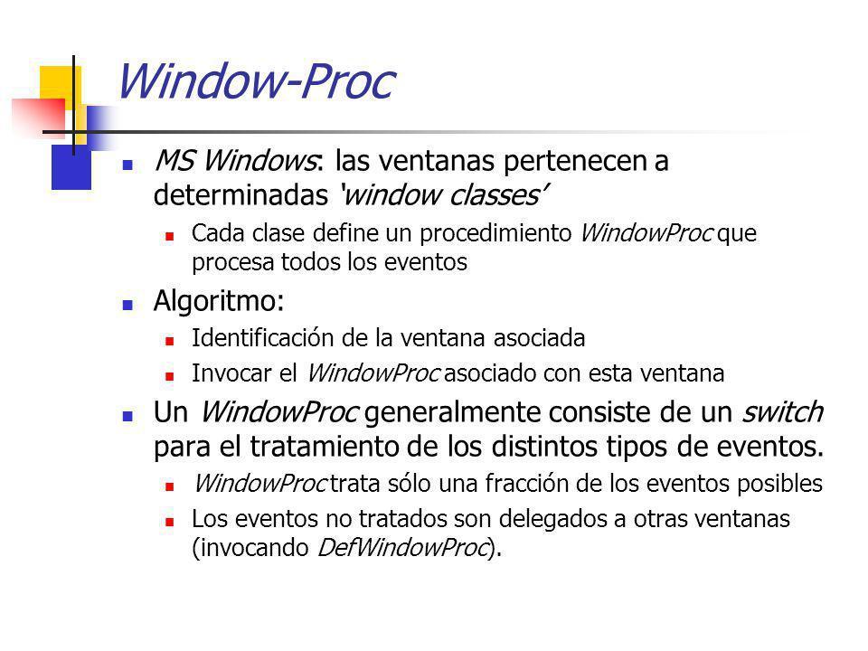 Window-Proc MS Windows: las ventanas pertenecen a determinadas window classes Cada clase define un procedimiento WindowProc que procesa todos los even