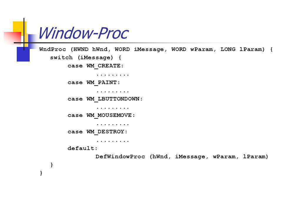 Window-Proc WndProc (HWND hWnd, WORD iMessage, WORD wParam, LONG lParam) { switch (iMessage) { case WM_CREATE:......... case WM_PAINT:......... case W