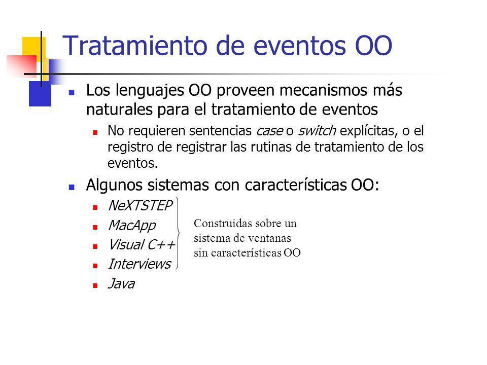 Tratamiento de eventos OO Los lenguajes OO proveen mecanismos más naturales para el tratamiento de eventos No requieren sentencias case o switch explí
