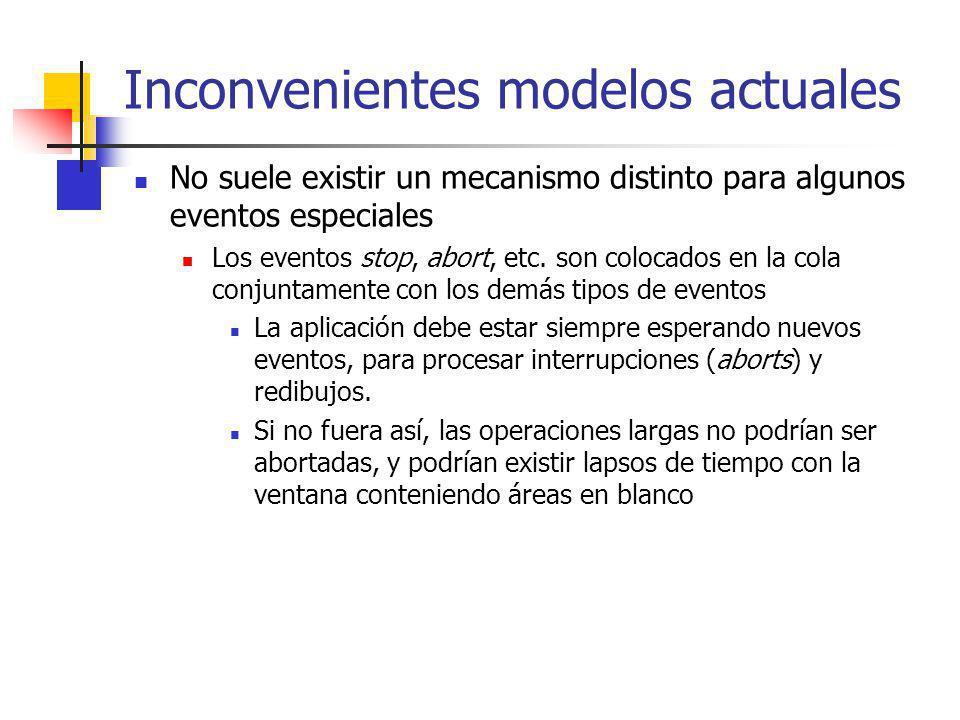 Inconvenientes modelos actuales No suele existir un mecanismo distinto para algunos eventos especiales Los eventos stop, abort, etc. son colocados en