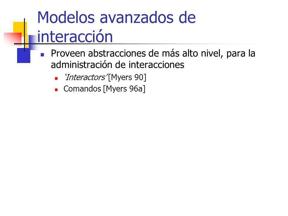 Modelos avanzados de interacción Proveen abstracciones de más alto nivel, para la administración de interacciones Interactors [Myers 90] Comandos [Mye