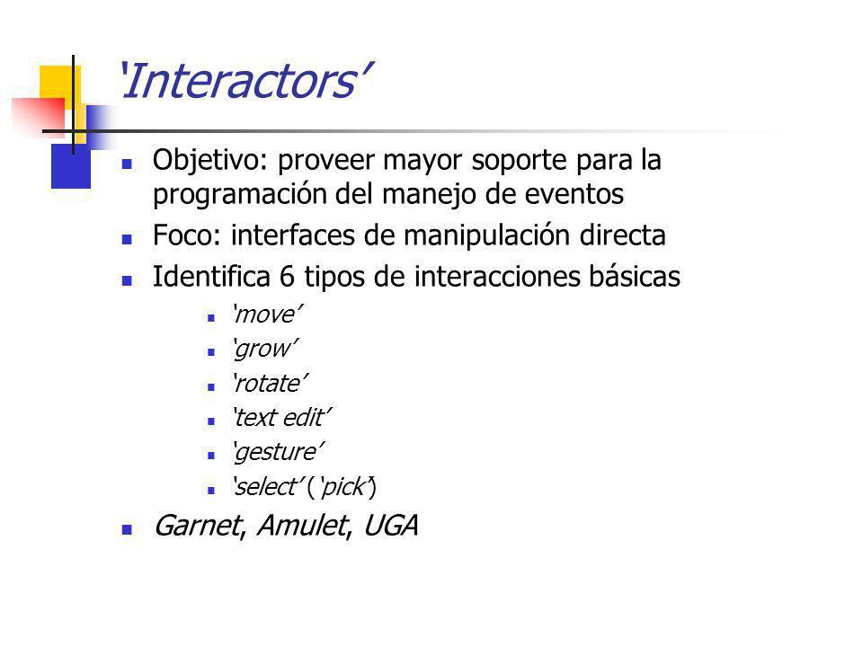 Interactors Objetivo: proveer mayor soporte para la programación del manejo de eventos Foco: interfaces de manipulación directa Identifica 6 tipos de