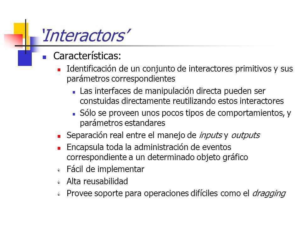 Interactors Características: Identificación de un conjunto de interactores primitivos y sus parámetros correspondientes Las interfaces de manipulación