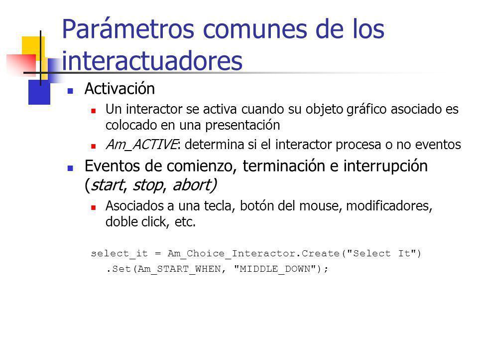 Parámetros comunes de los interactuadores Activación Un interactor se activa cuando su objeto gráfico asociado es colocado en una presentación Am_ACTI