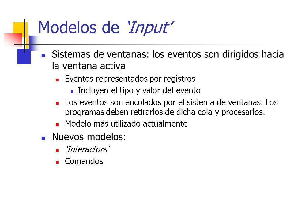 Interactors Idea general: asociar interactores a un objeto gráfico (o varios), para administrar sus inputs Los objetos gráficos no necesitan ser conscientes de sus inputs no existen métodos para el tratamiento de eventos en los objetos gráficos Los interactores son invisibles para los objetos gráficos Pueden asociarse múltiples interactores a un objeto Un mismo tipo de interactor puede operar sobre múltiples objetos Estrategia: Seleccionar el tipo correcto de interactor Crear una instancia de ese interactor Colocar los valores para sus parámetros (slots) Asociarlo con el objeto gráfico