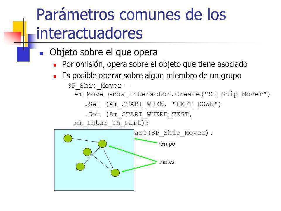 Parámetros comunes de los interactuadores Objeto sobre el que opera Por omisión, opera sobre el objeto que tiene asociado Es posible operar sobre algu