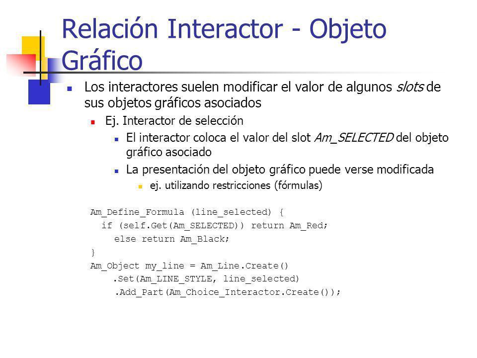 Relación Interactor - Objeto Gráfico Los interactores suelen modificar el valor de algunos slots de sus objetos gráficos asociados Ej. Interactor de s