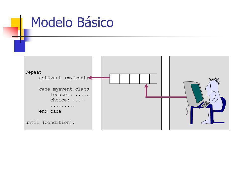 Despacho de eventos Modelo top-down: Se selecciona una ventana raíz de una jerarquia (colocada al frente de la presentación) que contiene el mouse Ventana contenedora La ventana contenedora posee un código especial para despachar el evento a una o más de sus subventanas