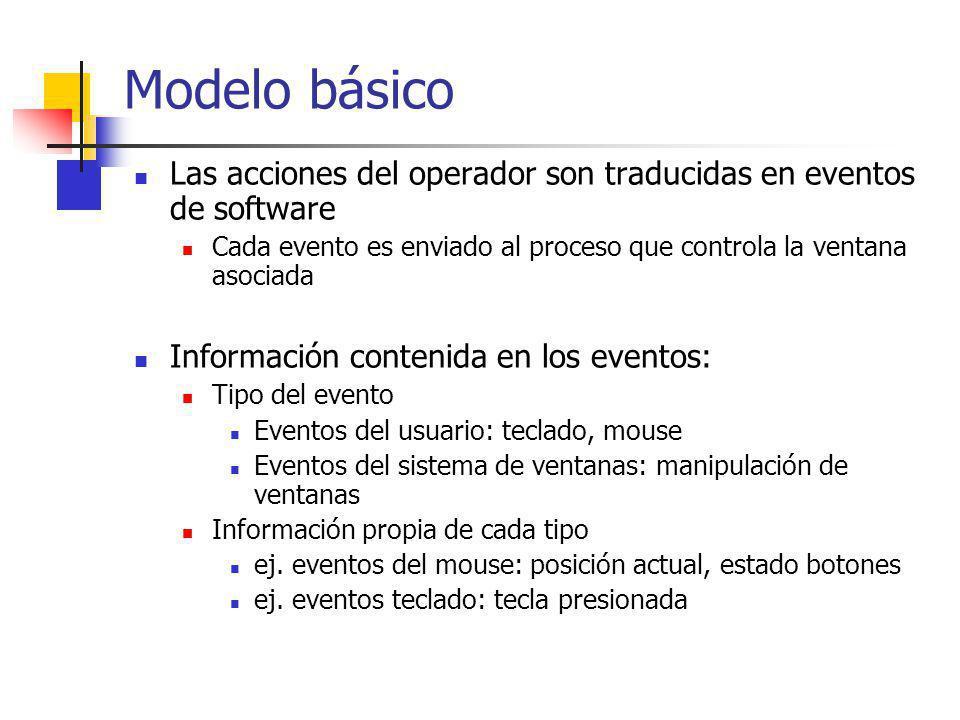Eventos del usuario Mouse: botones mouse-up mouse-down Siempre contienen la posición del mouse Definición dependiente de las configuraciones de hardware para las que fue diseñado el sistema de ventanas Macintosh: asume que existe sólo un botón MS Windows: define eventos diferentes para los botones izquierdo, derecho y medio de un mouse de 3 botones.