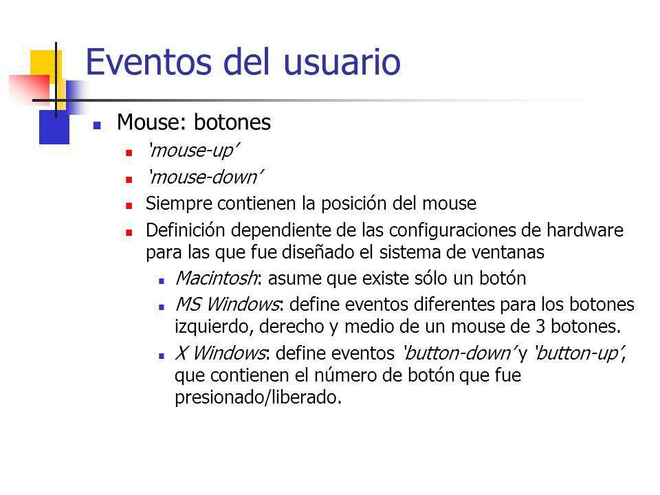 Tratamiento de eventos OO Una clase abstracta (WindowEventHandler) define el comportamiento estandar de los mecanismos de tratamientos de eventos MouseDown(Button, Location, Modifiers) MouseUp(Location, Modifiers) KeyPress(Key, Modifiers) MouseEnter(Location, Modifiers) MouseExit(Location, Modifiers) Redraw(DamagedRegion) SetCanvas (Canvas) SetBounds(BoundsRect) Rectangle GetBounds() En la mayoría de estos métodos, la implementación por omisión no realiza ninguna acción.