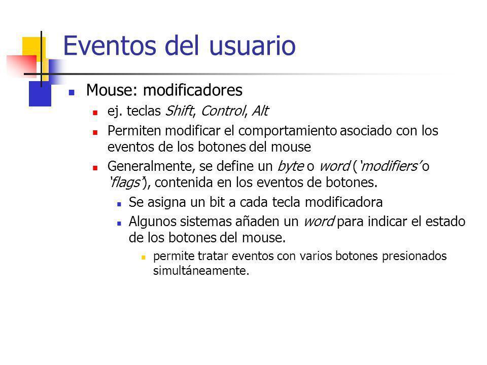 Cola de Eventos Contiene los registros representando los eventos del usuario La rutina con el ciclo de eventos los retira de la cola, y los procesa Los sistemas de ventanas proveen una rutina para obtener el siguiente evento de la cola Sistemas multitarea (X, NeXTSTEP): Una cola para cada proceso.