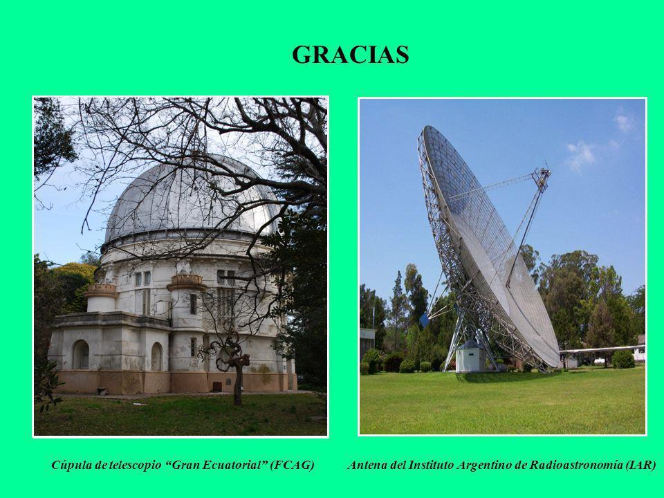 GRACIAS Antena del Instituto Argentino de Radioastronomía (IAR) Cúpula de telescopio Gran Ecuatorial (FCAG)