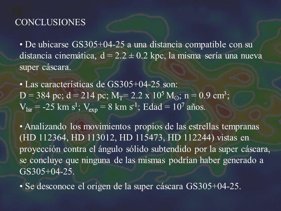 CONCLUSIONES De ubicarse GS305+04-25 a una distancia compatible con su distancia cinemática, d = 2.2 ± 0.2 kpc, la misma sería una nueva super cáscara