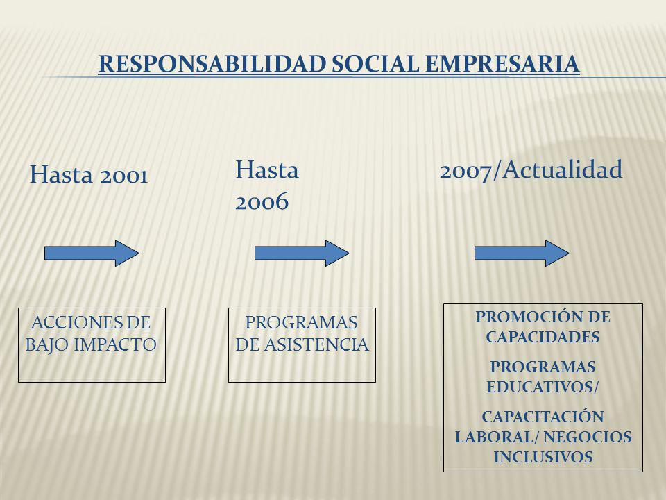RESPONSABILIDAD SOCIAL EMPRESARIA Hasta 2001 Hasta 2006 2007/Actualidad ACCIONES DE BAJO IMPACTO PROGRAMAS DE ASISTENCIA PROMOCIÓN DE CAPACIDADES PROG