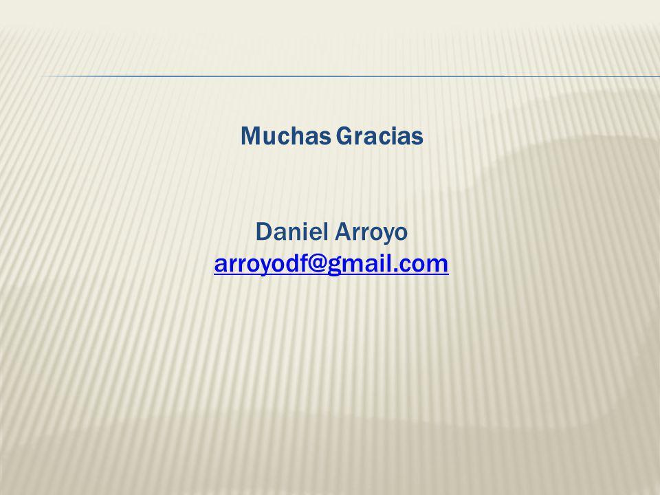 Muchas Gracias Daniel Arroyo arroyodf@gmail.com arroyodf@gmail.com