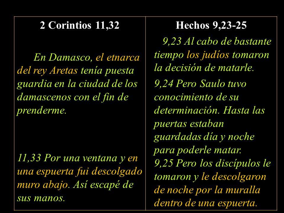 2 Corintios 11,32 En Damasco, el etnarca del rey Aretas tenía puesta guardia en la ciudad de los damascenos con el fin de prenderme. 11,33 Por una ven