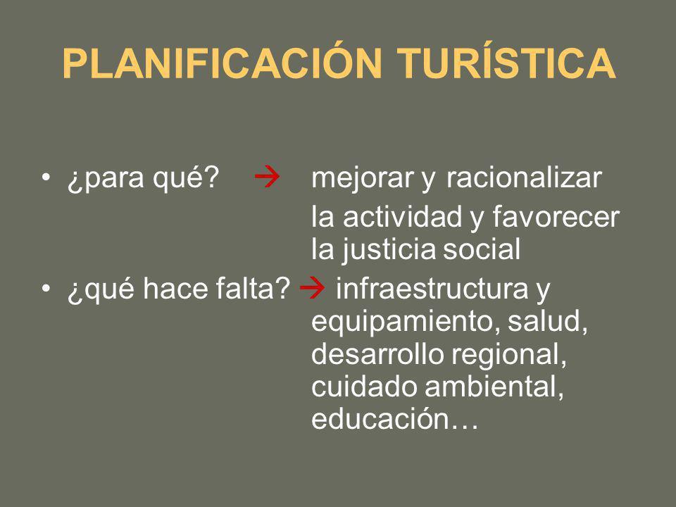 PLANIFICACIÓN TURÍSTICA ¿para qué? mejorar y racionalizar la actividad y favorecer la justicia social ¿qué hace falta? infraestructura y equipamiento,