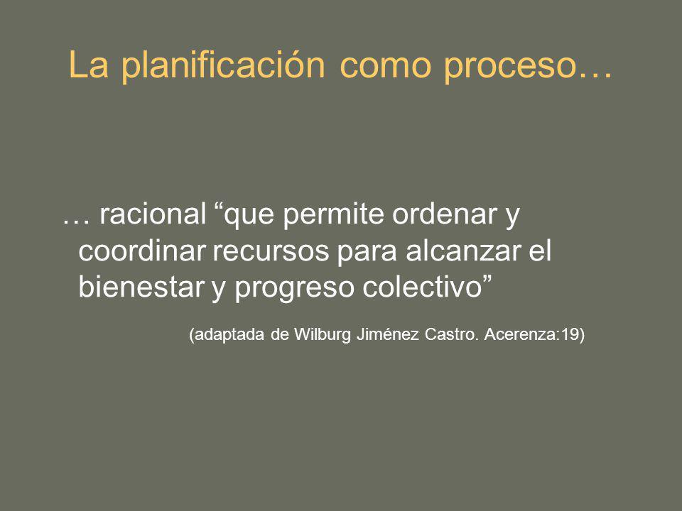 La planificación como proceso… … racional que permite ordenar y coordinar recursos para alcanzar el bienestar y progreso colectivo (adaptada de Wilburg Jiménez Castro.