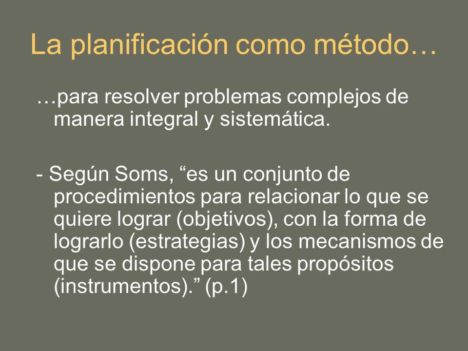 …para resolver problemas complejos de manera integral y sistemática. - Según Soms, es un conjunto de procedimientos para relacionar lo que se quiere l