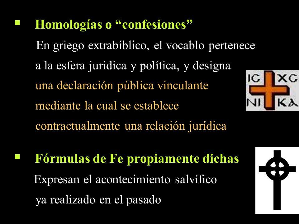 Homologías o confesiones En griego extrabíblico, el vocablo pertenece a la esfera jurídica y política, y designa una declaración pública vinculante me