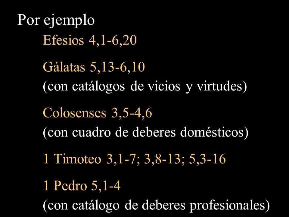 Por ejemplo Efesios 4,1-6,20 Gálatas 5,13-6,10 (con catálogos de vicios y virtudes) Colosenses 3,5-4,6 (con cuadro de deberes domésticos) 1 Timoteo 3,