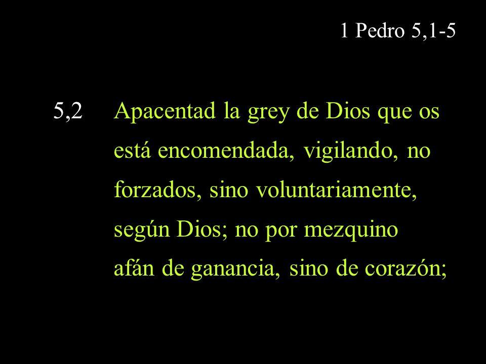 1 Pedro 5,1-5 5,2 Apacentad la grey de Dios que os está encomendada, vigilando, no forzados, sino voluntariamente, según Dios; no por mezquino afán de