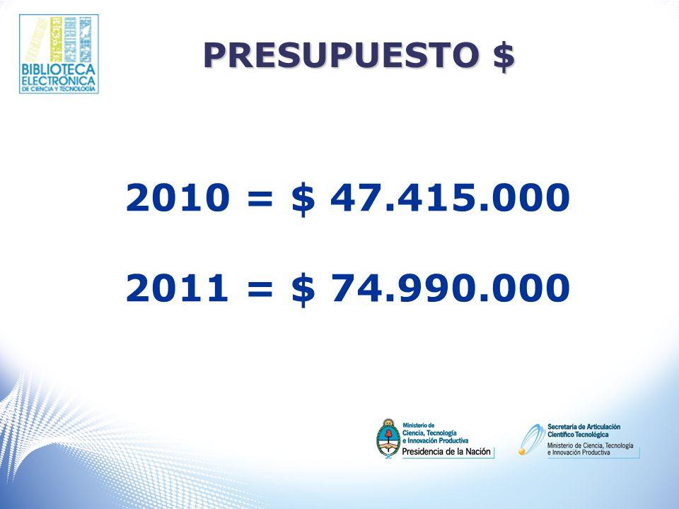 PRESUPUESTO $ 2010 = $ 47.415.000 2011 = $ 74.990.000