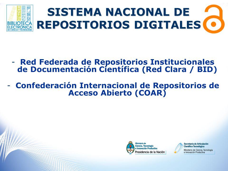 -Red Federada de Repositorios Institucionales de Documentación Científica (Red Clara / BID) -Confederación Internacional de Repositorios de Acceso Abierto (COAR) SISTEMA NACIONAL DE REPOSITORIOS DIGITALES