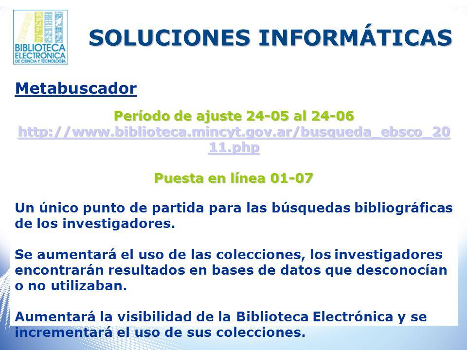 Metabuscador Período de ajuste 24-05 al 24-06 http://www.biblioteca.mincyt.gov.ar/busqueda_ebsco_20 11.php http://www.biblioteca.mincyt.gov.ar/busqueda_ebsco_20 11.php http://www.biblioteca.mincyt.gov.ar/busqueda_ebsco_20 11.php Puesta en línea 01-07 Un único punto de partida para las búsquedas bibliográficas de los investigadores.