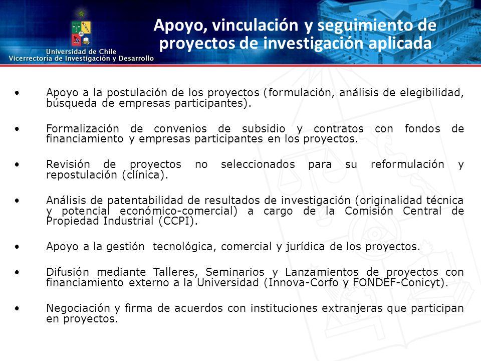 Apoyo a la postulación de los proyectos (formulación, análisis de elegibilidad, búsqueda de empresas participantes).