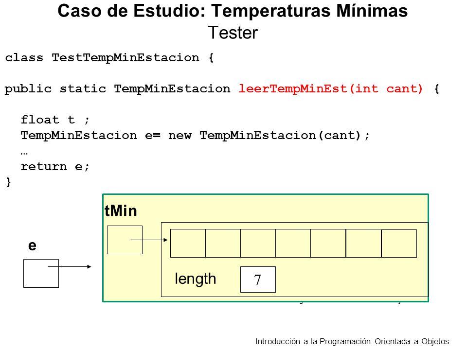 class TestTempMinEstacion { public static TempMinEstacion leerTempMinEst(int cant) { float t ; TempMinEstacion e= new TempMinEstacion(cant); … return e; } Caso de Estudio: Temperaturas Mínimas Tester Introducción a la Programación Orientada a Objetos e tMin 7 length