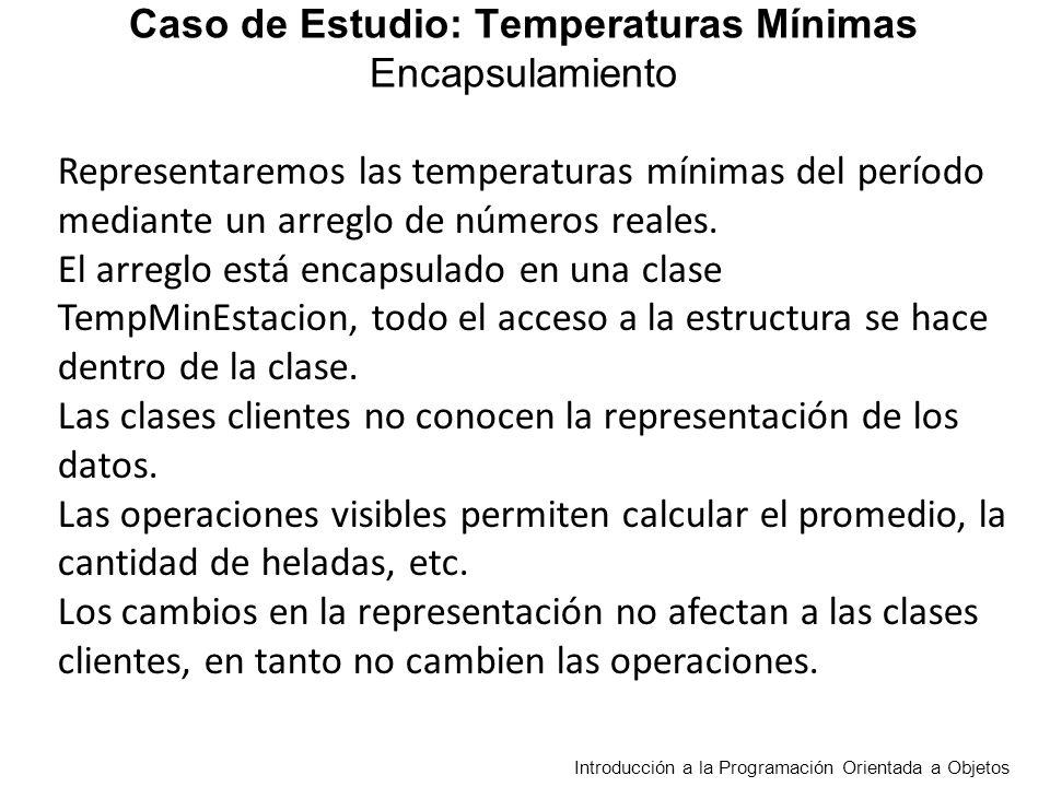 TempMinEstacion float [] tMin > mayoresDiferencias (tme:TempMinEstacion, t:real ) : entero hayDiferenciaMayor (tme:TempMinEstacion, t: real) : boolean mayorDiferencia (tme:TempMinEstacion ) :real menorEntreEstaciones (tme:TempMinEstacion): TempMinEstacion Cuenta en cuántos días la diferencia absoluta entre las temperaturas de las dos estaciones es mayor a t Decide si en dos estaciones en algún día la diferencia absoluta entre temperaturas es mayor a t Retorna la mayor diferencia absoluta entre dos estaciones en el mismo día, asume que se registraron por lo menos dos días Retorna una Estación con la menor temperatura mínima de cada día entre dos estaciones dadas Requieren la misma cantidad de temperaturas en las dos estaciones Caso de Estudio: Temperaturas Mínimas Reciben y/o retornan un objeto de la clase TempMinEstacion