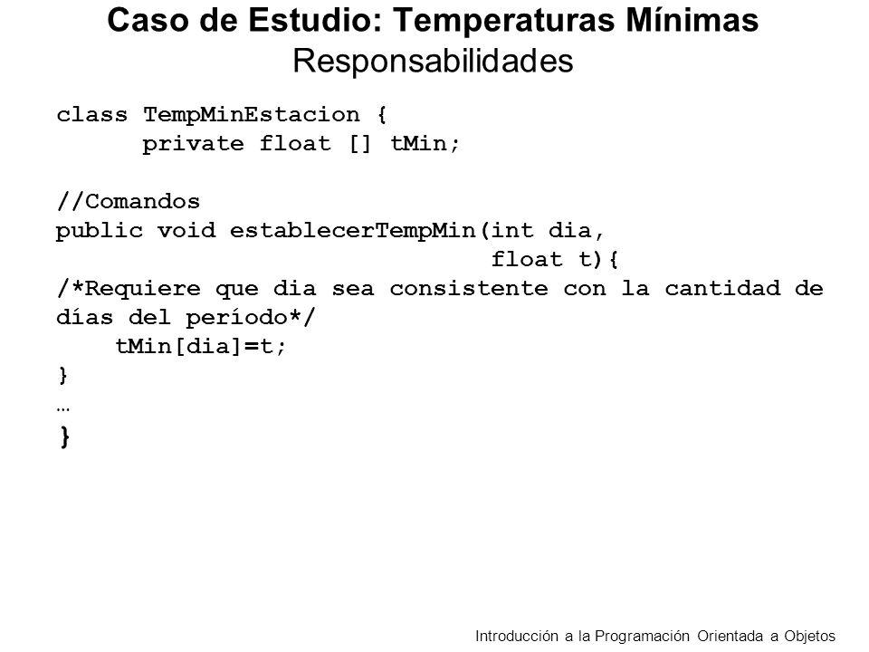 class TempMinEstacion { private float [] tMin; //Comandos public void establecerTempMin(int dia, float t){ /*Requiere que dia sea consistente con la cantidad de días del período*/ tMin[dia]=t; } … } Caso de Estudio: Temperaturas Mínimas Responsabilidades Introducción a la Programación Orientada a Objetos