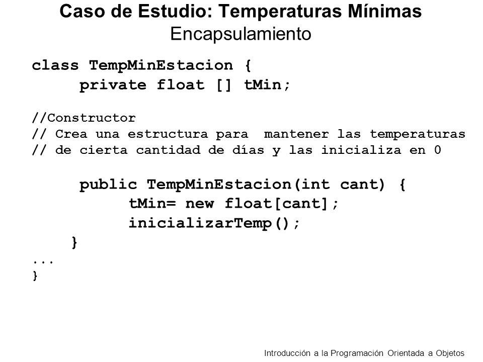 public int mayoresDiferencias(TempMinEstacion tme, float t ){ /*Cuenta en cuantos días la diferencia absoluta entre las temperaturas de las dos estaciones es mayor a t Requiere la misma cantidad de temperaturas en las dos estaciones*/ int cont = 0; float t1,t2; for (int d = 0; d<cantDias() ; d++){ t1=tMin[d]; t2 = tme.obtenerTempMin(d); if(Math.abs(t1-t2)> t) cont++; } return cont; } Caso de Estudio: Temperaturas Mínimas