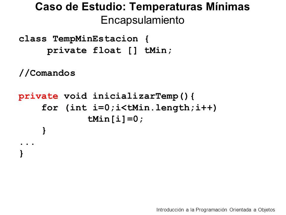 class TestTempMinEstacion { public static void main(String[] args) { // Tester para una semana int cant =7; TempMinEstacion est; est = leerTempMinEst(cant) ; System.out.println( Muestra la estación ); mostrarTempMinEst(est) ; System.out.println( Promedio Estación + est.promedioTempMin() ); … } Caso de Estudio: Temperaturas Mínimas Tester Introducción a la Programación Orientada a Objetos