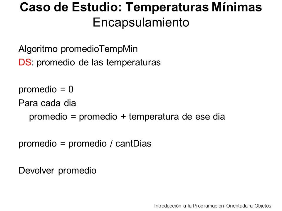 TempMinEstacion float [] tMin > mayorAmplitud():real huboMayorAmplitud(t:real):boolean todasAmplitudesCrecientes():boolean Decide si hubo alguna amplitud térmica entre días consecutivos, mayor a t Retorna la mayor amplitud térmica entre 2 días consecutivos, asume que se registraron por lo menos dos días Introducción a la Programación Orientada a Objetos Caso de Estudio: Temperaturas Mínimas Decide si todas las amplitudes térmicas entre días consecutivos son crecientes Establecer Casos de Prueba para cada servicio