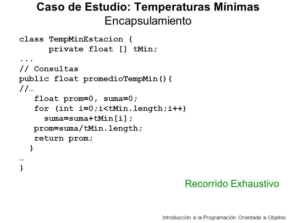 public boolean hayDiferenciaMayor(TempMinEstacion tme, float t ){ /*Decide si en dos estaciones en algún día la diferencia absoluta entre temperaturas es > t Requiere la misma cantidad de temperaturas en las dos estaciones */ boolean hay = false; for (int d = 0; d<cantDias() && !hay; d++) if(Math.abs(tMin[d]-tme.obtenerTempMin(d))> t) hay = true; return hay; } Caso de Estudio: Temperaturas Mínimas