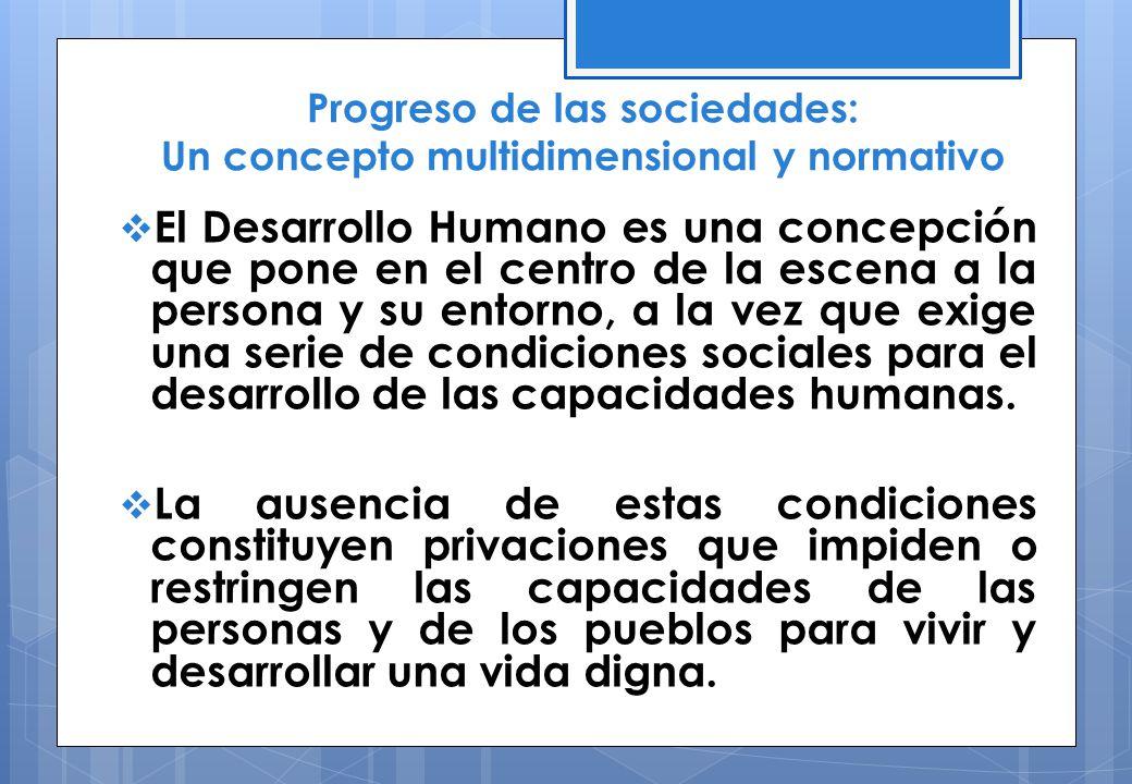 Progreso de las sociedades: Un concepto multidimensional y normativo El Desarrollo Humano es una concepción que pone en el centro de la escena a la pe