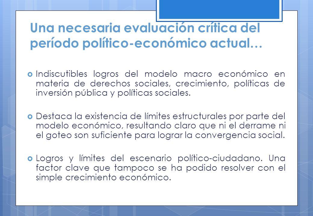 Una necesaria evaluación crítica del período político-económico actual… Indiscutibles logros del modelo macro económico en materia de derechos sociale