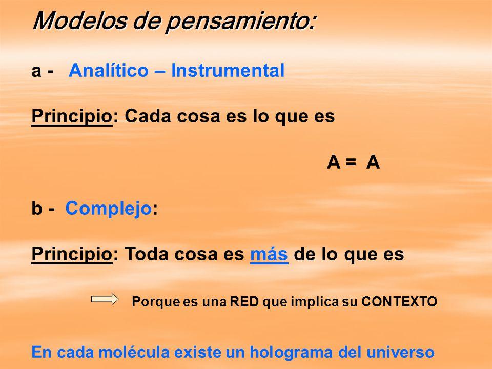 Modelos de pensamiento: a - Analítico – Instrumental Principio: Cada cosa es lo que es A = A b - Complejo: Principio: Toda cosa es más de lo que es Porque es una RED que implica su CONTEXTO En cada molécula existe un holograma del universo