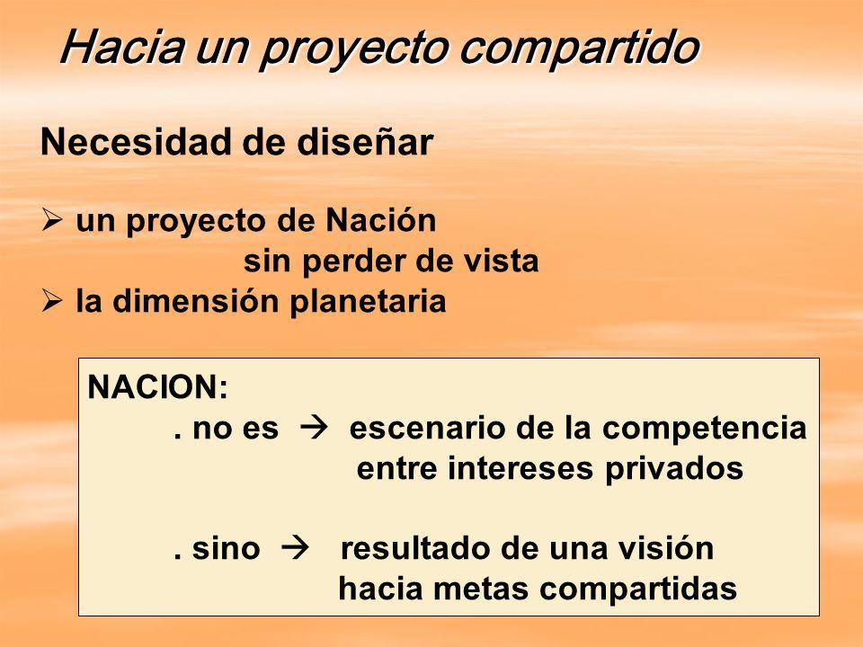 Necesidad de diseñar un proyecto de Nación sin perder de vista la dimensión planetaria Hacia un proyecto compartido NACION:.