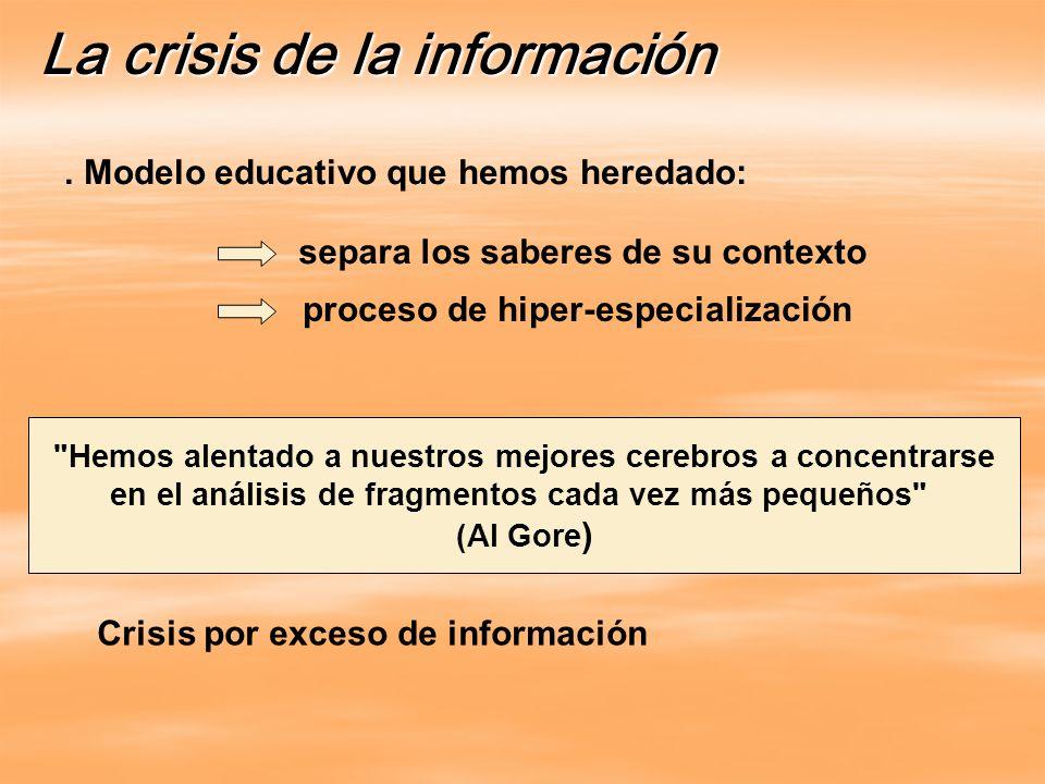 . Modelo educativo que hemos heredado: La crisis de la información Crisis por exceso de información separa los saberes de su contexto proceso de hiper-especialización Hemos alentado a nuestros mejores cerebros a concentrarse en el análisis de fragmentos cada vez más pequeños (Al Gore )