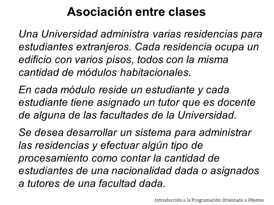 Introducción a la Programación Orientada a Objetos Una Universidad administra varias residencias para estudiantes extranjeros.