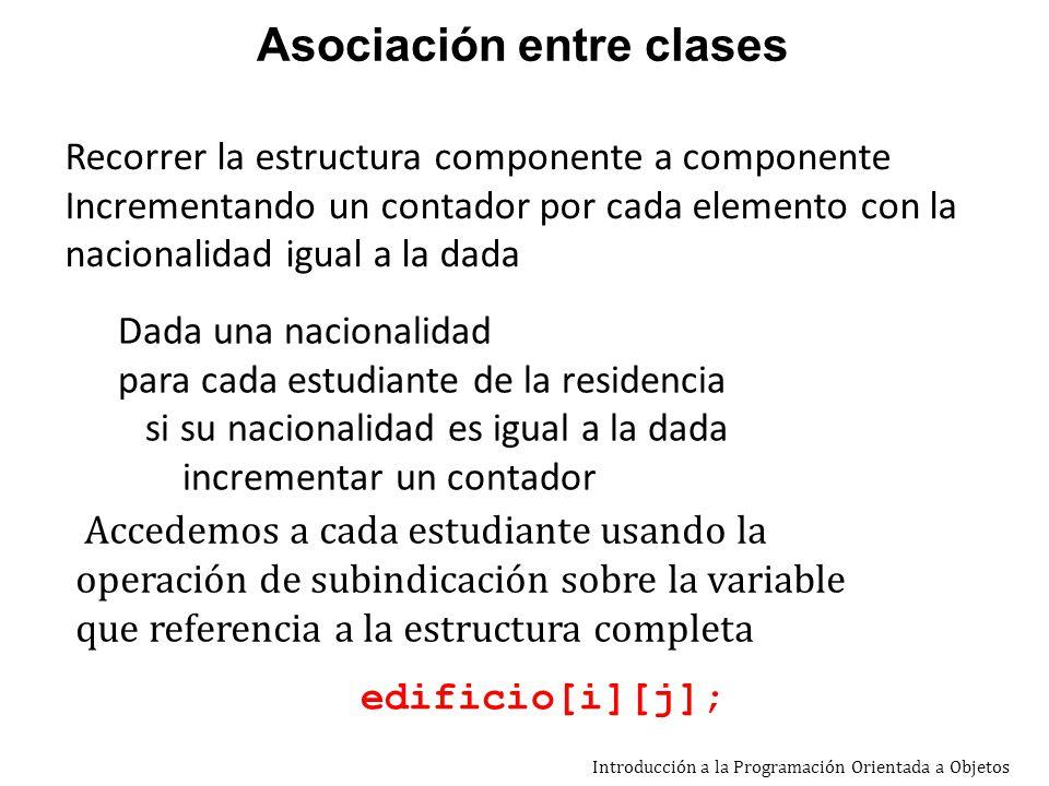 Introducción a la Programación Orientada a Objetos private Estudiante [][] edificio; … public int cantNac (String nac){ /*calcula la cantidad de estudiantes de una nacionalidad dada*/ int cant = 0; Estudiante est; String nacEst; for (int i=0;i< cantFil();i++) for (int j=0;j< cantCol();j++) { est = edificio[i][j]; if (est != null){ nacEst = est.obtNacionalidad(); if (nac.equals(nacEst)) cant++ ; } } return cant; } Asociación entre clases