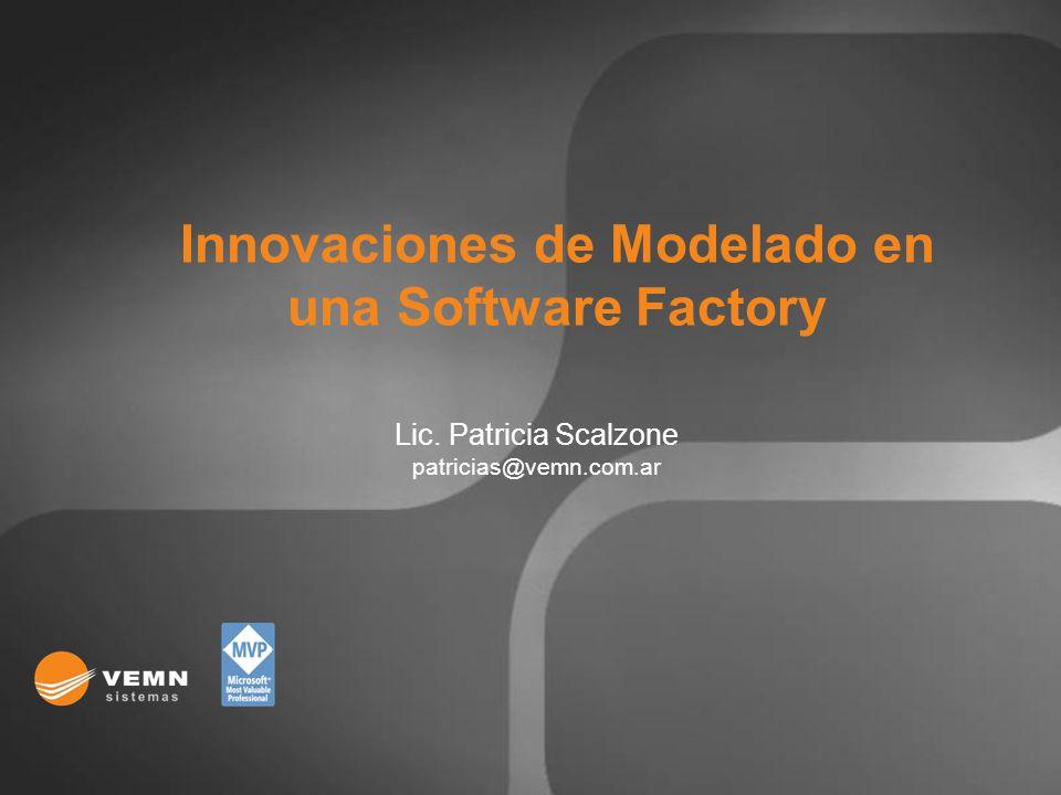 Lic. Patricia Scalzone patricias@vemn.com.ar Innovaciones de Modelado en una Software Factory