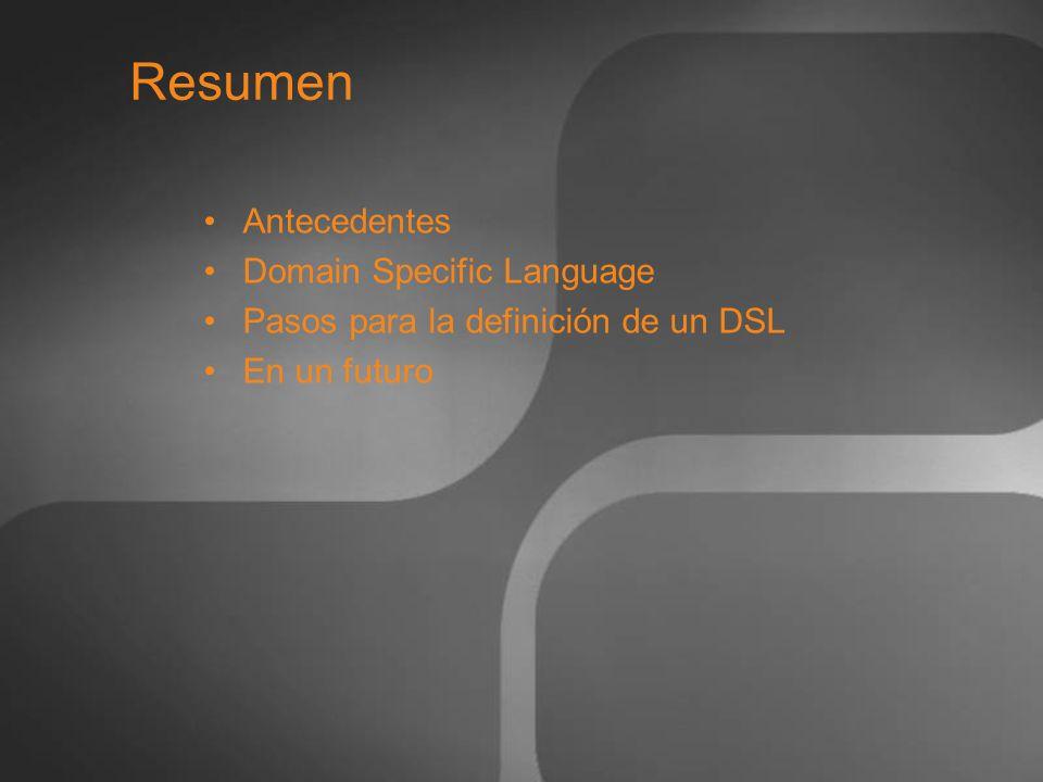 Resumen Antecedentes Domain Specific Language Pasos para la definición de un DSL En un futuro