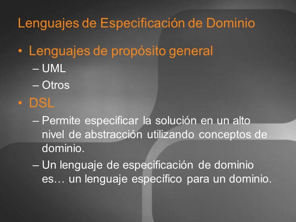 Lenguajes de Especificación de Dominio Lenguajes de propósito general –UML –Otros DSL –Permite especificar la solución en un alto nivel de abstracción