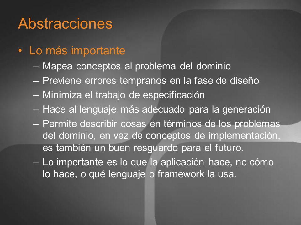 Definición del Lenguaje Reglas, Propiedades y Restricciones del modelo Mapeo de los conceptos principales a los objetos de modelado: Conceptos secundarios –Propiedades –Conexiones –Sub-Modelos –Links a otros modelos en otros lenguajes